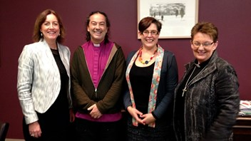 Jenny Williams welcomes Anglican Bishop Justin with  Marsden Chaplain Sarah King and Rev. Sue Fordyce from the Wllington Regional Anglican Diocese.
