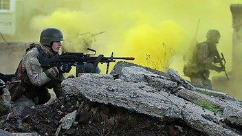 Alex in action during New Zealand Army training