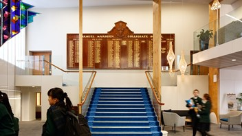 Foyer of Te Manawa o Te Kura, the heart of Marsden school