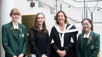 Marsden OG Antonia Leggat with Principal Jenny Williams and top scholars Alexandra McKendry & Jessica Seow