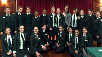 Natalie Sisson with Year 10 students