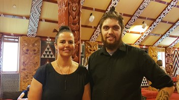Sarah Molisa, our kaikaranga (caller) with speaker, Te Ao