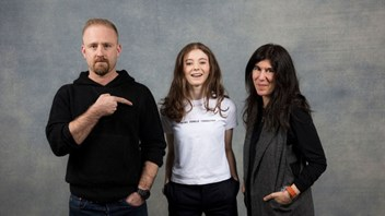 Thomasin McKenzie, with actor Ben Foster and 'Leave No Trace' Director, Debra Granik