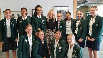 Elly Bray with Marsden Students