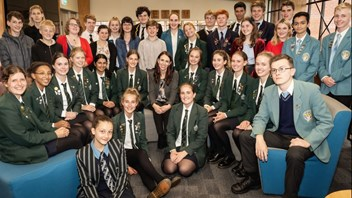 Jacinda with students at Marsden