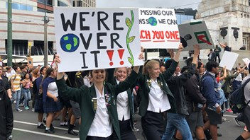 School Strike 4 Climate NZ marchers approaching Parliament grounds