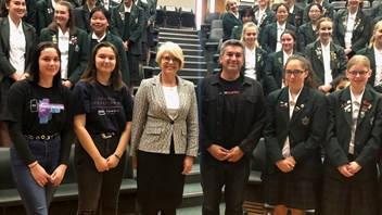 Jonathon Meichtry with Narelle Umbers, his daughters (on left) and Marsden students