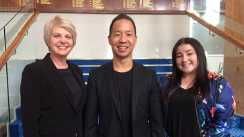 Principal, Narelle Umbers, Victor Huang and Fiona Crawford, Director of Future Focused Learning & Innovation