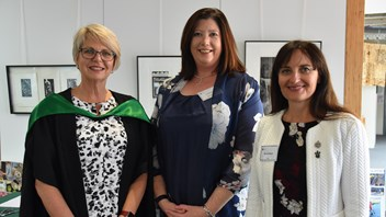Principal Narelle Umbers with Old Girls President, Jo Prescott and past President, Mandy Britnell